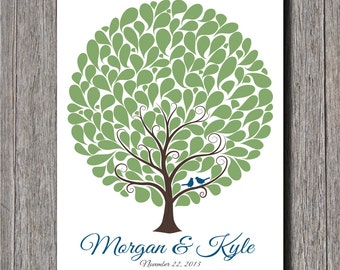 Wedding Guest Tree With 145 Signature Shapes - 11x14 - Wedding Tree - Wedding Guest Book Alternative