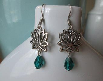 Silver Lotus Earrings by The Darling Duck