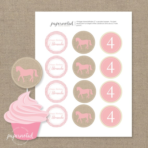 Vintage Horse Cupcake Toppers // Girl Cupcake Toppers // Horse