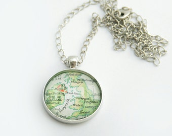 Custom Map Necklace Unisex Jewellery Personalized Necklace Jewelry Silver Round Vintage World Map Necklace Gift for Traveller Custom Town