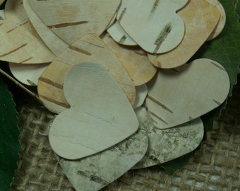 2000 Heart Confetti - Birch Bark Heart Confetti.