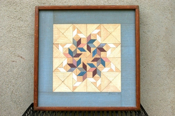 Vintage Wood Quilt Geometric Wall Hanging Signed Art 80s Mauve Blue Peach Natural Wood