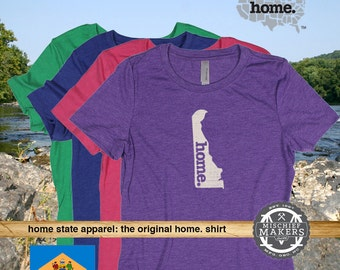 Delaware Home. T-shirt- Womens Red Green Royal Pink Purple