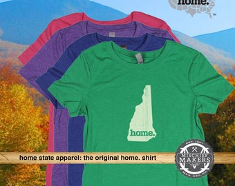 New Hampshire Home. T-shirt- Womens Red Green Royal Pink Purple