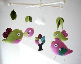 """Baby crib mobile, Bird mobile, felt mobile, nursery mobile, baby mobile,""""Bird - Olive, Pink"""""""