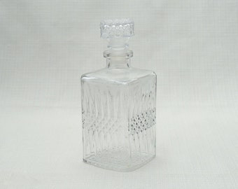 Vintage French Square Cut Glass Whiskey Decanter Scotch Carafe