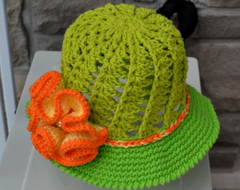 SUN HAT PATTERN, Crochet Hat Pattern, Child Hat, Crochet Pattern, Summer Crochet Hat, Flower, Brim Summer Hat, Chapeau  de Soleil, Sun Hat