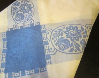 Vintage Blue and Off White Table Cloth 50x59