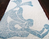 bath mat / cotton rug  MERMAID  color: navy blue on natural
