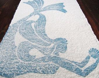 Bath Mat Cotton Rug Mermaid Color Navy Blue On Natural