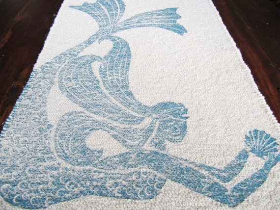 bath mat cotton rug mermaid color navy by annehalldesigns. Black Bedroom Furniture Sets. Home Design Ideas