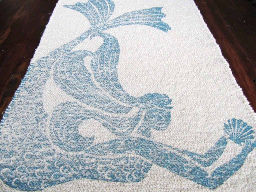 Bath Mat Cotton Rug Mermaid Color Navy Blue On Natural