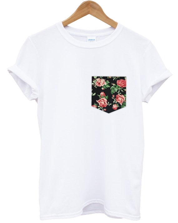 Real stitched red vintage rose floral print pocket t shirt for Pocket tee shirts for womens