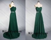 Long Bridesmaid Dress Chiffon Prom Dress Sweetheart  A Line Bridesmaid Dresses Wedding Party Dress Beading Evening Dress