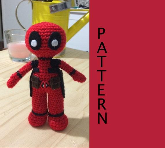 Amigurumi Crochet Dress Pattern : Deadpool Amigurumi Crochet Doll Pattern by 53Stitches on Etsy