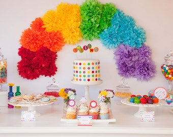 Complete Printable Collection for a Rainbow Birthday Party / Rainbow Lollipop Party