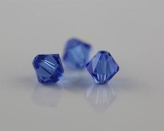Sapphire~6 mm Xillion Bicone (5328) Genuine Swarovski crystals. ( 25 ) pcs.