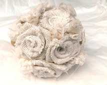 Burlap Wedding Bouquet, Lace, Custom, Roses, Natural, Rustic, Shabby Chic, Vintage, Bridal, Bridesmaid, Weddings, Fabric Flower, Weddings