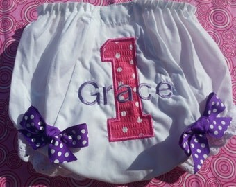 First  Birthday Smash Cake  Bloomers with Bows - Purple and Pink with Monogram