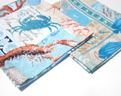 Coastal Fish, Crab, Seahorse, Shell, Starfish, Coral Set of 2 Cotton Dinner Napkins