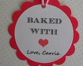 "20 Personalized Kraft Gift Tags. Baked With Love Tags. 2""  Scallop Tags."