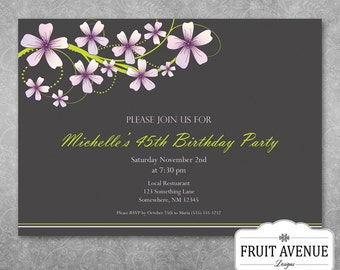 Elegant Adult Birthday Party Invitation with Flowers - Printable