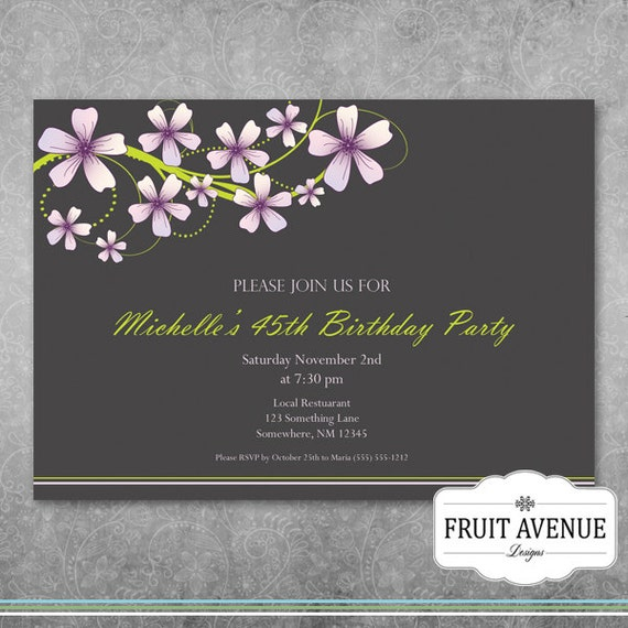 Elegant Adult Birthday Party Invitation With Flowers