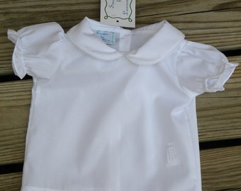 Girl Short Sleeve Collared Undershirt for Jumpers...Monogram Option
