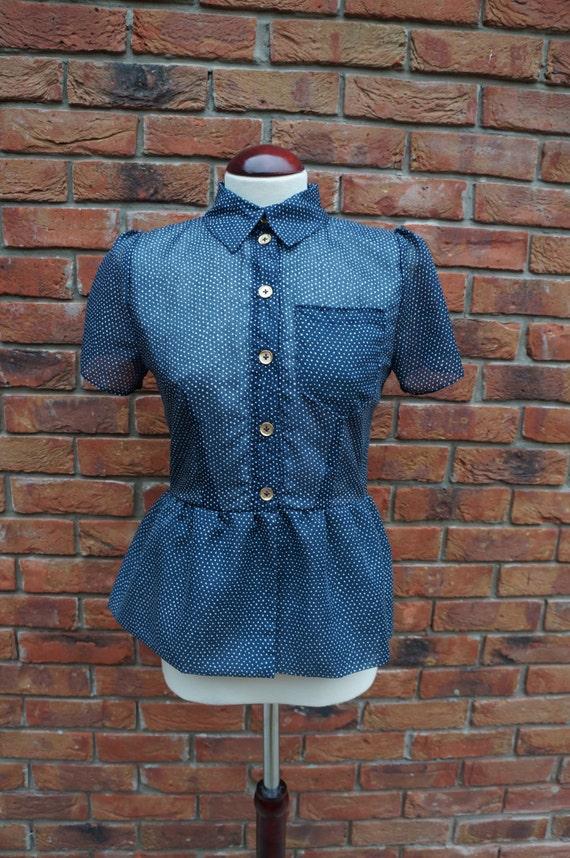 Vintage style handmade peplum shirt/blouse. Size 8-10. (40s, 50s, 60s)