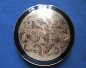 Vintage Stratton Compact Leaf Design Gold And Black Powder Compact