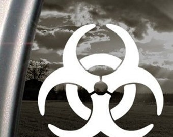 "Biohazard Symbol Bio-Hazard Zombie Outbreak 5"" Vinyl Decal Widow Sticker for Car, Truck, Motorcycle, Laptop, Ipad, Window, Wall, ETC"