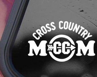 "Cross Country Mom School Support 6.5"" Vinyl Decal Window Sticker for Car, Truck, Motorcycle, Laptop, Ipad, Window, Wall, ETC"
