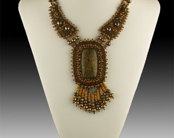 Bead Embroidery Necklace in Natural Tones