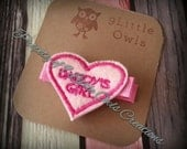 Single Pink Daddy's Girl Heart Hair Clip Feltie