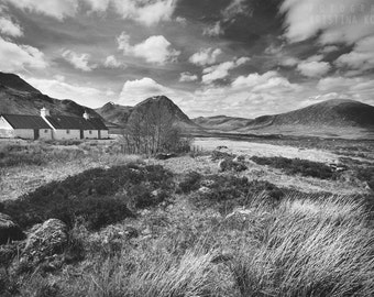 HIGHLANDS photography print, black and white Scotland landscape, 8x12
