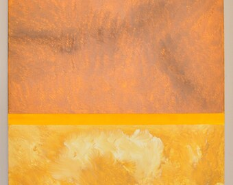 Original Abstract Acrylic Painting Yellow Cream White Sienna Umber Orange Color Field Expressionist 18 x 24