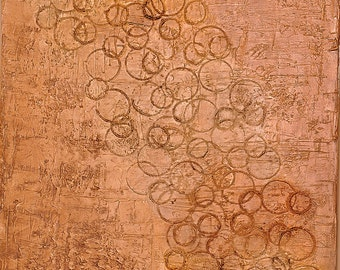 Original Abstract Acrylic Painting Brown, Yellow Ochre, Cream, Tan, Umber Earthy Textured Circles Expressionist 24 x 30