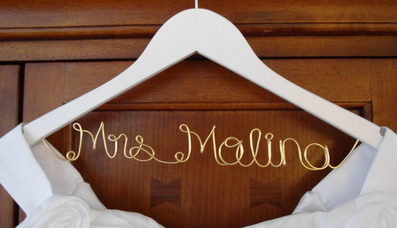 Bridal hanger one line custom bridal hanger by bellsandkisses for Wedding dress hanger name
