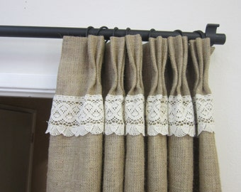 "84"" Burlap Lace Curtains- Burlap Curtains - Burlap Pinch pleat panels/Burlap Drapes/Burlap decor/Burlap wedding/Burlap style curtains"