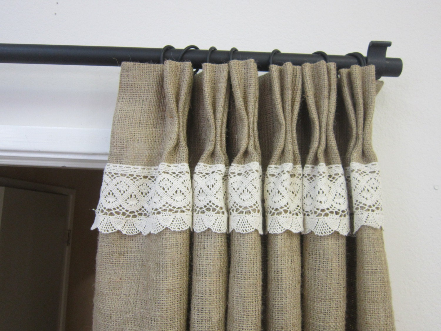 84 Burlap Lace Curtains Burlap Curtains Burlap Pinch