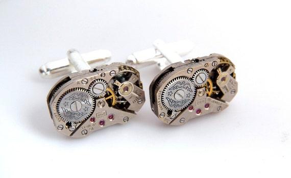 Steampunk Gears & Wings Vintage Watch Movements Cufflinks - Clockwork Cuffs