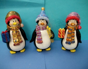 Hand Painted Plaster Penguine Figurines For Christmas  Christmas Decoration