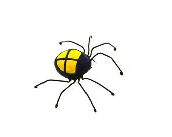 SMALL tarantula spider stained glass bug beetle suncatcher home decor yellow Halloween decor