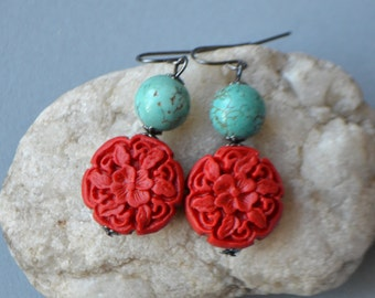 Cinnabar and Turquoise Earrings in Gunmetal
