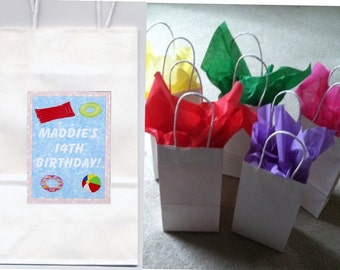 Pool party favor goody bags personalized set of 10