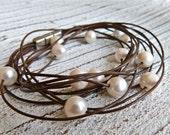 Leather Bracelet brown #2,freshwater pearls,Ladies Bracelet,Handmade Jewelry,Multi-strand,Double Wrap,Boho Chic,Women,Bridesmaid, to wrap