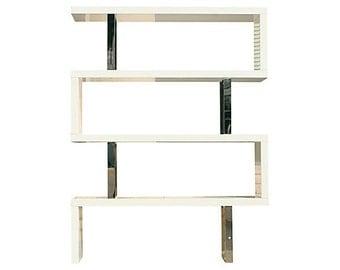 White Zig Zag Modernist Pearl Bookcase