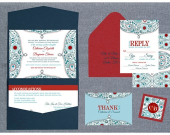 Bombay Paisley - Indian Wedding Invitation - Intricate paisley in an urban color scheme