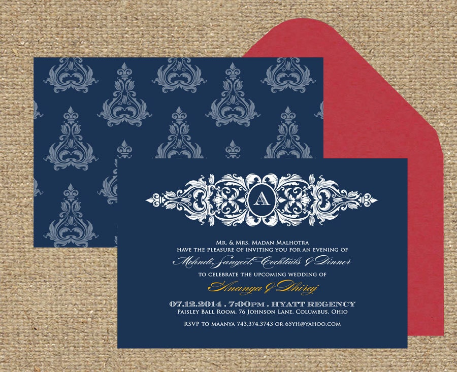 Indian Wedding Invitation Platinum Brocade Perfect For A