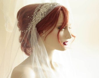 1920's Wedding Veil  - Jioni Veil 70 to 72  inches length ( Made to order)